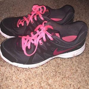 Ladies Black and Pink Nike Tennis Shoes